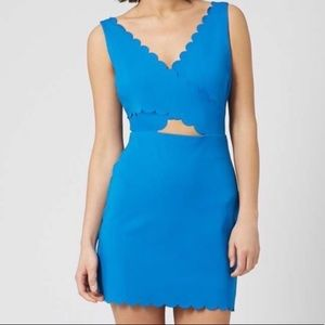 Topshop Bodycon Mini Dress Scalloped Blue